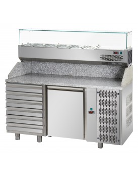 Sheffcat 1 Door Refrigerated Pizza Counter 6 Draw
