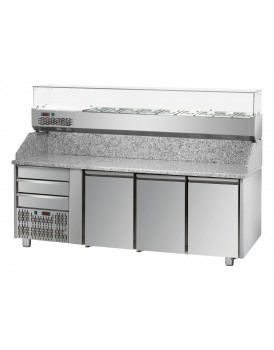Sheffcat 3 Doors Refrigerated Pizza Counter 3 Draw