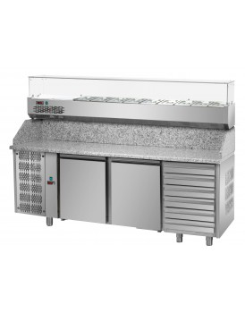 Sheffcat 2 Doors Refrigerated Pizza Counter 6 Draw